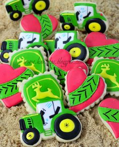 John Deere Valentine's Day Cookies, from Haniela's