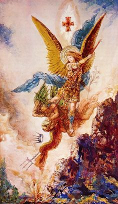 Gustave Moreau Saint Michael Vanquishing Satan hand painted oil painting reproduction on canvas by artist Saint Michael, St. Michael, Michael Post, Angels Among Us, Angels And Demons, Catholic Art, Religious Art, Religious Paintings, Love Tarot