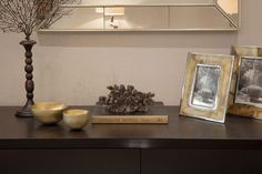 Console accent accessories in living space | JHR Interiors