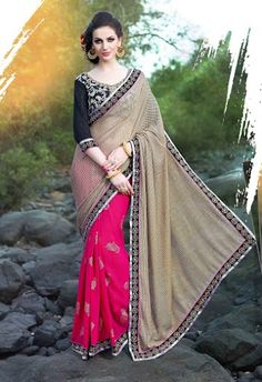 Attractive Biege and Pink Shimmer and Georgette Saree