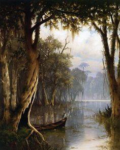 Louisiana Bayou by Joseph Meeker Giclee Canvas Print Repro Louisiana Swamp, Louisiana Art, Louisiana Homes, Louisiana Tattoo, Mississippi, Canvas Art Prints, Landscape Paintings, Landscapes, Beautiful Places
