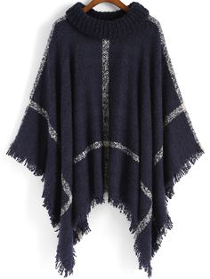 Navy High Neck Plaid Tassel Cape , High Quality Guarantee with Low Price!