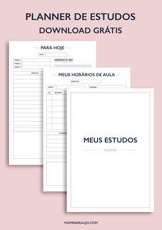 Meus Estudos Planner - Download grátis | Yasmin Araujo