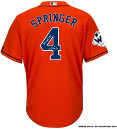 eea4c0a41 George Springer Houston Astros Fanatics Authentic 2017 MLB World Series  Champions Autographed Majestic World Series Orange Replica Jersey with 2017  WS MVP ...