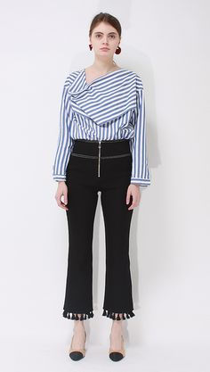 Rye Drape Neckline Shirt in bold stripes.