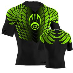 Hawk Style Compression Shirt - Black & Neon Green Rugby Jersey Design, Jersey Designs, Workout Gear For Men, Black Neon, Neon Green, Flag Football, Custom Football, Dart Shirts, Cycling Outfit