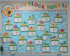 Sunny Days in Second Grade: classroom set up. Épingles à linge recouvertes du symbole de l'année sur le tableau d'affichage!  Une pour chacun des élèves...Brillant! Efficace pour l'affichage!