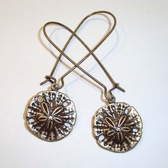 Shoply.com -Sand Dollar Antique Gold Long Drop Earrings. Only C$4.95