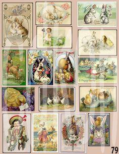 vintage Easter cards digital download. $1.00, via Etsy.