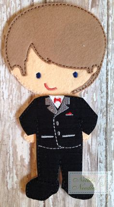 Felt Un Paper Doll Tuxedo by NettiesNeedlesToo on Etsy, $5.00
