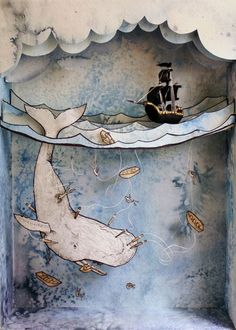 Moby Dick Shadowbox by Suzette Korduner, via BehanceYou can find Altered art and more on our website.Moby Dick Shadowbox by Suzette Korduner, via Behance Shadow Box Kunst, Shadow Box Art, Origami, Paper Art, Paper Crafts, Paper Book, Ideias Diy, Freelance Illustrator, Art Plastique