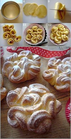 Look how beautiful this puff pastry design is! More You are in the right place about pastry poster Here we offer you the most beautiful pictures about No Bake Desserts, Just Desserts, Dessert Recipes, Unique Desserts, Fancy Desserts, Dessert Ideas, Pastry Design, Bread Shaping, Bread And Pastries