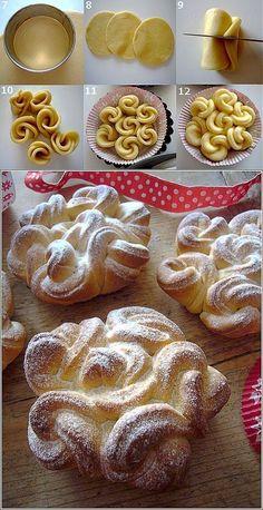 Roscas em Muffins Rendadas: - Farinha de 350 g - Manteiga amolecida 80 g - 2 gemas de ovo - 140 gramas de leite morno - 3 colheres de açúcar - 1 pacote de açúcar de baunilha - 10 g de levedura - Um pouco de doce de leite para a lubrificação de rolos. - Açúcar em pó