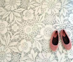 Stenciled Floor, Skylar's Lace Floral Stencil - Royal Design Studio/ Could be done on a ceiling instead. Painted Cement Floors, Stenciled Concrete Floor, Painting Cement, Lace Painting, Concrete Floors, Concrete Porch, Painted Rug, Paint Tiles, Painted Floorboards