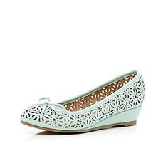 Girls green laser cut ballerina wedges - shoes / boots - girls