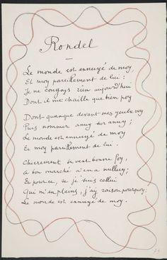 Rondel / Le monde est ennuyé de moi ... na página 73, primeira imagem de quatro no XIX folha dobrada no livro não ligado Poèmes de Charles d'Orléans (Paris: Tériade éditeur, 1950) Artista: Henri Matisse Data: 1950  Poema enquadrado com duas linhas entrelaçadas