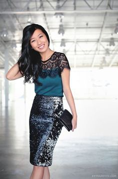 Holiday office party: Lace sweater tee + sequin skirt - Extra Petite : office party outfit: lace sweater tee and sequin skirt Office Outfits, Night Outfits, Stylish Outfits, Outfit Night, Christmas Party Outfits, Holiday Party Outfit, Christmas Parties, Christmas Holiday, Holiday Ideas