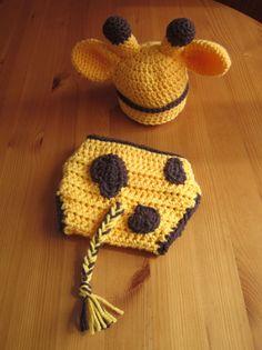 Crochet Baby Giraffe Hat and Nappy / Diaper Cover Set