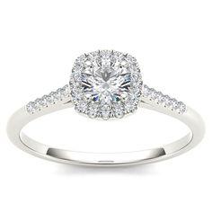 <li>Round-cut white diamond engagement ring</li> <li>10k white gold jewelry</li> <li><a href='http://www.overstock.com/downloads/pdf/2010_RingSizing.pdf'><span class='links'>Click here for ring sizing guide</span></a></li>