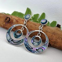 Blue Earrings, Star Earrings, Statement Earrings, Hoop Earrings, Abalone Jewelry, Boho Jewelry, Jewellery, London Market, Mexican Jewelry