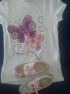 camisetaa y zapatillas pintadas a mano.Samanta