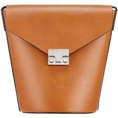 Rental Loeffler Randall Brown Flat Bucket Bag (460 SAR) ❤ liked on Polyvore featuring bags, handbags, brown, brown bucket bag, structured purse, flat bags, bucket bags and loeffler randall