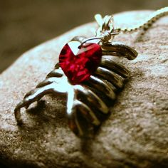 Rib Cage and Heart necklace