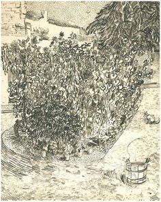 Vincent van Gogh Jardín con girasoles Drawing