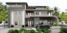 Modern home design Two Story House Design, Village House Design, Kerala House Design, Bungalow House Design, House Front Design, Dream House Exterior, Dream House Plans, Modern House Plans, Ultra Modern Homes