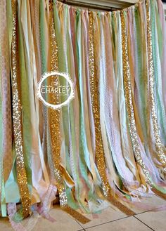 Pink Mint Gold Sparkle Sequin Fabric Backdrop with Lace - Wedding Garland, Photo Prop, Curtain, Baby Shower, Crib Garland we could do this as a window curtain/photobooth Baby Shower Backdrop, Baby Shower Decorations, Wedding Decorations, Wedding Centerpieces, Fabric Backdrop, Ribbon Backdrop, Ribbon Garland, Cake Smash Photos, Festa Party