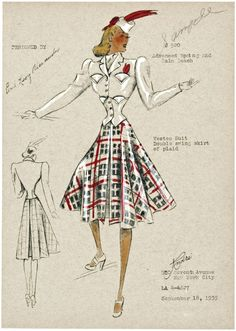 Fashion plates for women from 1938 , Vestee suit — Spring/Summer 1939-1940. Advanced Spring and Palm Beach; Double swing skirt of plaid; Suit jacket with pocket detail and plaid skirt. Feathered hat