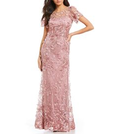 Color:Pink - Image 1 - David Meister Blush Pink Embroidered Floral A-Line Gown Summer Mother Of The Bride Dresses, Mother Of Bride Outfits, Mother Of The Bride Gown, Mothers Dresses, Mother Bride, Mob Dresses, Dressy Dresses, Summer Dresses, Dance Dresses