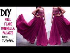 DIY : Umbrella Cut Full Gher Palazzo/ Long Divided Skirt Cutting and Stitching (hindi) - blackstars. Gharara Designs, Kurti Designs Party Wear, Salwar Designs, Fashion Drawing Dresses, Fashion Dresses, Fashion Pants, Lehenga Pattern, Divided Skirt, Fancy Kurti
