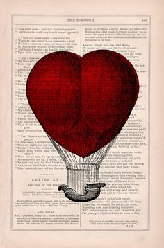 Book print Love Hot air Balloon Print on Vintage Book by PRRINT
