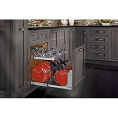 Kitchen Cabinet Remodel Rev-A-Shelf - - 21 in. Pull-Out Two-Tier Base Cabinet Cookware Organizer Kitchen Cabinet Organization, Kitchen Storage, Cabinet Organizers, Storage Organization, Storage Ideas, Organizing, Food Storage, Cabinet Storage, Cabinet Ideas