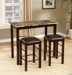 Narrow Dining Table With Bench Seats, 3-Piece Counter Height Brando Espresso Finish, Roundhill Furniture