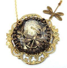 Dragon Under Glass, Steampunk Dragonfly Necklace, Steampunk Shadowbox, Steampunk Victorian, Dragonfly Steampunk One of a Kind on Etsy, $46.00