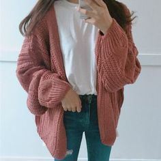 Shop for Moon City with YesStyle! Wide selection of authentic Moon City products. FREE Worldwide Shipping available! Oversized Cardigan Outfit, Cable Knit Cardigan, Cardigan Outfits, Knit Sweaters, Fall Outfits, Casual Outfits, Cute Outfits, Fashion Outfits, Ulzzang Fashion