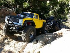 My modified Axial Scx10 2-speed truck and my son right behind me in his Axial Scx10 out at Vasquez Rock.