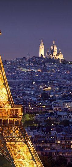 Tour Eiffel & Sacré Coeur ~ Paris, France at the Blue Hour My dream city. The Places Youll Go, Cool Places To Visit, Places To Travel, Paris Travel, France Travel, Paris France, Hotel Des Invalides, Belle France, Paris Love