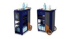 Carro servicio Bombay Bar Counter Design, Bombay, Wine Display, Mobile Bar, Pop Up Stores, Memphis, Event Design, Magazine Rack, Mini