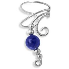 Bling Jewelry Bling Jewelry Lapis Gemstone Ear Cuff Right Ear Long... ($18) ❤ liked on Polyvore featuring jewelry, earrings, blue, ear cuff jewelry, sterling silver earrings, sterling silver ear cuff, gemstone earrings and egyptian jewelry