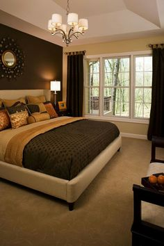 Chocolate and Tan Walls For our master bedroom.maybe red accent wall since we have brown curtains. Master Bedroom Design, Dream Bedroom, Home Bedroom, Bedroom Ideas, Master Bedrooms, Bedroom Colors, Master Room, Bedroom Designs, Master Suite