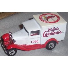 St. Louis Cardinals 1990 MLB Diecast Ford Model A Truck 1/64 Scale Baseball Team Collectible Matchbox White Rose by MLB  $31.89 Matchbox Cars, St Louis Cardinals, Ford Models, Diecast, Mlb, Scale, Trucks, Baseball, Rose