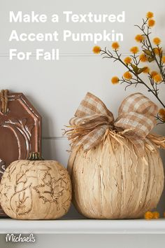Transform a traditional craft pumpkin into a chalked and textured décor piece. Make as many as you like and use them as accent pumpkins to decorate from early to late Fall.