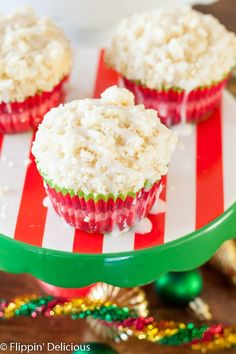 This Gluten Free Holiday Brunch has everything you need, including gluten free eggnog muffins with crumb topping, breakfast casserole cups, grapefruit mimosas, and a hot chocolate bar. Dairy Free Muffins, Gluten Free Oats, Gluten Free Baking, Best Gluten Free Recipes, Allergy Free Recipes, Gluten Free Desserts, Christmas Desserts, Christmas Brunch, Holiday Treats