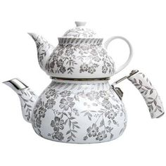 Turkish caydanlik teapots are very sensible because you can serve tea with different strengths. They can be plain stainless steel or pretty enamel like this one.