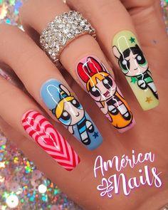 Disney Acrylic Nails, Disney Nails, Summer Acrylic Nails, Best Acrylic Nails, J Nails, Drip Nails, Cute Nails, Pretty Nails, Cartoon Nail Designs
