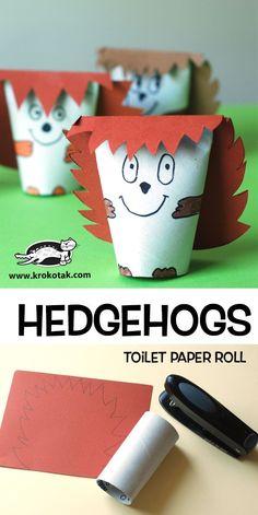 HEDGEHOGS – toilet paper roll (krokotak) Diy Paper Crafts diy crafts with paper towel rolls Bee Crafts For Kids, Preschool Crafts, Diy For Kids, Preschool Learning, Paper Towel Roll Crafts, Paper Plate Crafts, Towel Paper, Hedgehog Craft, Rolled Paper Art