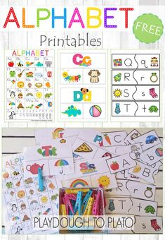 These free alphabet printables are perfect for toddlers, preschoolers and kindergartners! Help children identify beginning sounds, lowercase letters and uppercase letters with a colorful alphabet chart, clip it cards and letter matching puzzles. #ABCfun #alphabetfreebies #playdoughtoplato #literacyfreebies